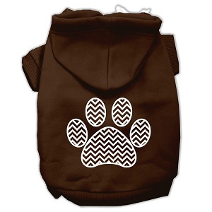 Chevron Paw Screen Print Pet Hoodies Brown Size Med (12)